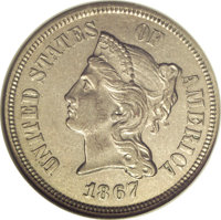 1867 5C Five Cents, Judd-570, Pollock-640, R.5, PR58 NGC. The obverse design resembles the contemporary three cent nicke...