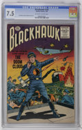 Golden Age (1938-1955):War, Blackhawk #102 (Quality, 1956) CGC VF- 7.5 Off-white to whitepages. Dick Dillin and Chuck Cuidera cover and art. Only CGC-g...