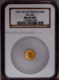 California Fractional Gold: , 1875 50C Indian Octagonal 50 Cents, BG-946, R.4, MS66 NGC. NGCCensus: (1/0). PCGS Population (1/0). (#10804)...