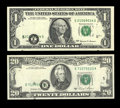 Shifted Third Printings. Fr. 1924-E $1 1999 Federal Reserve Note. Gem CU Fr. 2074-E $20 1981A Federal Reserve Note