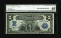 Large Size:Silver Certificates, Fr. 250 $2 1899 Silver Certificate CGA Gem Uncirculated 68. The deep original embossing can be plainly viewed through the th...