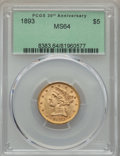 Liberty Half Eagles: , 1893 $5 MS64 PCGS. PCGS Population: (251/39). NGC Census: (642/71). CDN: $730 Whsle. Bid for problem-free NGC/PCGS MS64. Mi...