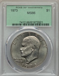 Eisenhower Dollars, 1973 $1 MS66 PCGS. PCGS Population: (129/0). NGC Census: (31/1). Mintage 2,000,056. ...