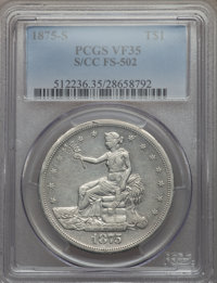 1875-S/CC T$1 FS-502 VF35 PCGS. PCGS Population: (1/4). NGC Census: (0/0). From The Sounder Collection, Part II....(PCGS...