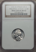1976 5C Jefferson Nickel -- Struck on a Philippine 1S Planchet (1.2g) -- MS62 NGC. From The Blue Angel Collection