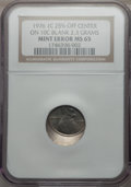 1976 1C Lincoln Cent -- Struck 25% Off-Center on a 10C Blank (2.3g) -- MS65 NGC. From The Blue Angel Collection of Bic...