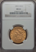 Liberty Eagles: , 1893-S $10 MS61 NGC. NGC Census: (254/177). PCGS Population: (113/238). Mintage 141,350. ...