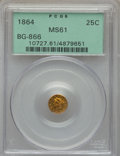 California Fractional Gold , 1864 25C Liberty Round 25 Cents, BG-866, Low R.6, MS61 PCGS. PCGSPopulation: (1/15). NGC Census: (0/1). . From The So...