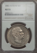 Coins of Hawaii , 1883 $1 Hawaii Dollar AU55 NGC. NGC Census: (59/114). PCGSPopulation: (50/133). Mintage 46,348. ...