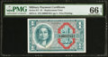 Military Payment Certificates:Series 611, Series 611 $1 Replacement PMG Gem Uncirculated 66 EPQ.. ...