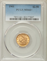 1901 $2 1/2 MS66+ PCGS. A popular date with type collectors, collectible in high grade. This Plus-designated Premium Gem...