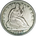Seated Half Dollars: , 1846 50C Medium Date MS62 NGC. Freckles of apple-green andelectric-blue toning enrich the margins of this meticulously str...