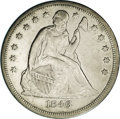 Seated Dollars: , 1846-O $1 AU53 NGC. Only 59,000 pieces were produced of this issue,one of only four Seated d...