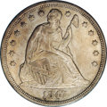 Seated Dollars: , 1847 $1 MS61 NGC. A moderately scarce date, this 1847 showssemi-reflective surfaces under a ...