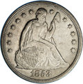 Seated Dollars: , 1853 $1 AU55 NGC. An original example with pleasing surfaces andtraces of wear on the highes...