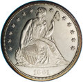 Proof Seated Dollars: , 1861 $1 PR63 NGC. Gentle chestnut toning endows this exquisitelystruck and conservatively gr...