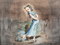 Animation Art:Concept Art, Peter Pan Wendy Darling Concept Painting by David Hall (WaltDisney, 1939-40)....