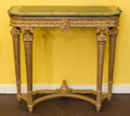 Furniture : French, A Louis XVI-Style Giltwood and Marble Console, 20th century. 35-5/8 h x 38-1/4 w x 15-1/2 d inches (90.5 x 97.2 x 39.4 cm). ...