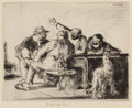 Prints, Edmund Blampied (British, 1886-1966). The Discussion. Etching. 17 x 8-3/4 inches (43.2 x 22.2 cm) (image). Signed in pen...