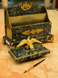 Decorative Arts, French:Other , An Empire-Style Gilt Bronze and Green Marble Desk Set, early 20thcentury . 10 h x 10 w x 5 d inches (25.4 x 25.4 x 12.7 cm)...(Total: 2 Items)