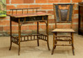 Furniture, An English Aesthetic Bristol Bamboo Dressing Table and Chair, late 19th century. 32 h x 31 w x 17 d inches (81.3 x 78.7 x 43... (Total: 2 Items)