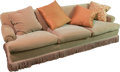 Furniture , A Tan Velveteen Upholstered Three-Seat Sofa, 20th century. 30-1/2 h x 90 w x 39 d inches (77.5 x 228.6 x 99.1 cm). ...