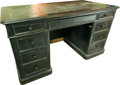 Furniture , An English Black Painted Pedestal Desk, late 19th century. 31 h x 57 w x 31 d inches (78.7 x 144.8 x 78.7 cm). ...