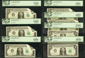 Error Notes:Foldovers, Fr. 1926-C $1 2001 Federal Reserve Notes. Seven ConsecutiveExamples. PCGS Graded.. ... (Total: 7 notes)