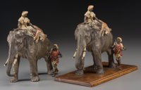 An Impressive Pair of Franz Bergman Cold-Painted Bronzes: The Tiger Hunt, late 19th-early 20th