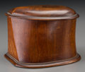 Decorative Arts, Continental, A Carved Mahogany Propeller Box and Cover, early 20thcentury. 4-3/4 h x 7-1/8 w x 6 d inches (12.1 x 18.1 x 15....