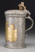 Decorative Arts, Continental:Other , A German Pewter and Brass Tankard, 18th century. Marks: (Lubeckcity mark), (CBB-tree-3). 9-1/4 inches high (23.5 cm). ...