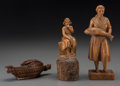 Decorative Arts, Continental, Three Continental Carved Boxwood Figures, late 19th-early 20thcentury. Marks to child figure: Made in Switzerland. 8-1/...(Total: 3 Items)