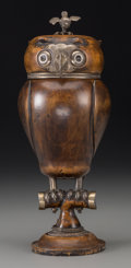 Decorative Arts, Continental, A Rare German Silver and Carved Wood Mazer Covered Owl Cup after adesign by Jakob Christoph Mentzinger, late 16th-early 17t...