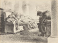 Fine Art - Work on Paper:Print, Ben Messick (American, 1901-1981). Sailors at the Train Station. Lithograph. 10 x 13-1/4 inches (25.4 x 33.7 cm) (sight)...