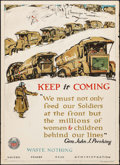 """Movie Posters:War, World War I Propaganda (United States Food Administration, 1918).Poster No. 14 (21"""" X 29"""") """"Keep it Coming...Waste Nothing...."""