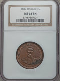Coins of Hawaii , 1847 1C Hawaii Cent MS63 Brown NGC. M. 2CC-1....