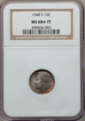 Roosevelt Dimes, 1948-S 10C MS68 ★ Full Torch NGC....