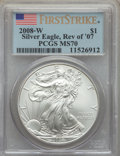 2008-W $1 Silver Eagle, Reverse of 2007, Burnished, First Strike MS70 PCGS. PCGS Population: (200). NGC Census: (3191)...