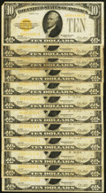 Small Size:Gold Certificates, Fr. 2400 $10 1928 Gold Certificates. Twelve Examples. Very Good-Fine or Better.. ... (Total: 12 notes)