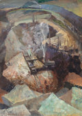 Fine Art - Painting, American:Modern  (1900 1949)  , Iver Rose (American, 1899-1972). Strip Mining. Oil on paper.24-1/2 x 16 inches (62.2 x 40.6 cm) (sight). Signed lower l...