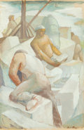 Fine Art - Painting, American:Modern  (1900 1949)  , Iver Rose (American, 1899-1972). Stone Masons. Oil on paper.24-1/2 x 16-1/2 inches (62.2 x 41.9 cm) (sight). Signed low...
