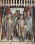 Fine Art - Painting, American:Modern  (1900 1949)  , Iver Rose (American, 1899-1972). Coal Miners in Elevator.Oil on paper. 21-3/4 x 17-3/4 inches (55.2 x 45.1 cm) (sight)...