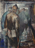 Fine Art - Painting, American:Modern  (1900 1949)  , Iver Rose (American, 1899-1972). Coal Miners in the Tunnel.Oil on paper. 23 x 17-1/4 inches (58.4 x 43.8 cm) (sight). S...