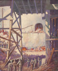 Fine Art - Painting, American:Modern  (1900 1949)  , W. Hankin (American, 20th Century). Stone Quarry. Oil oncanvas. 30-1/4 x 25 inches (76.8 x 63.5 cm). Signed lower right...