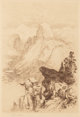 Thomas Moran (American, 1837-1926) The Half Dome - View from Moran Point, Yosemite, 1887 Etching on tan paper 11-3/4