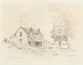 "Fine Art - Work on Paper:Drawing, Edward Muegge ""Buck"" Schiwetz (American, 1898-1984). Out on theHarper Road, 1969. Pencil and colored pencil on paper. 8..."