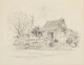 "Fine Art - Work on Paper:Drawing, Edward Muegge ""Buck"" Schiwetz (American, 1898-1984). No. 506Main Street - Old Log Cabin, 1969. Pencil on paper. 8 x 10-..."
