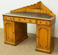 An English Curly Maple Corner Desk, mid-19th century 40 h x 48 w x 35 d inches (101.6 x 121.9 x 88.9 cm)