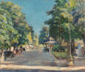 Fine Art - Painting, European:Modern  (1900 1949)  , Robert Kruger (German, 20th Century). Baden Baden StreetScene. Oil on canvas. 21-1/2 x 25-1/2 inches (54.6 x 64.8 cm)....