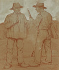 Fine Art - Work on Paper:Drawing, German School (20th Century). A Serious Conversation, 1912. Colored pencil and gouache on paper laid on board. 15-1/4 x ...